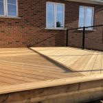 Angular Cedar Decking and steel rail